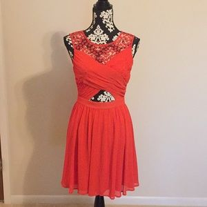 Gianni Bini size 3 red orange lace dress